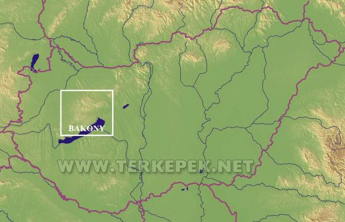 bakony térkép A Bakony elhelyezkedése Magyarország területén bakony térkép