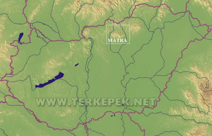 mátra térkép A Mátra elhelyezkedése Magyarország területén mátra térkép